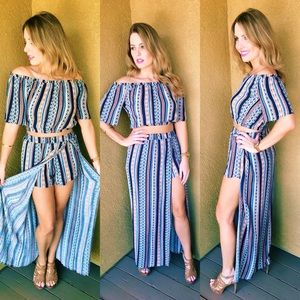 2 Piece Bohemian Dress with Aztec Print