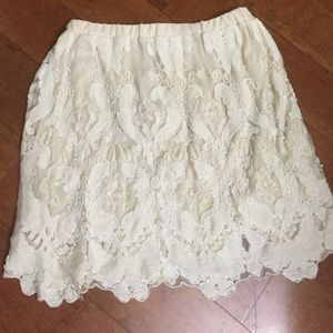White lace beaded skirt