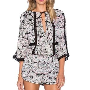 12th street by cynthia vincent lace inset romper