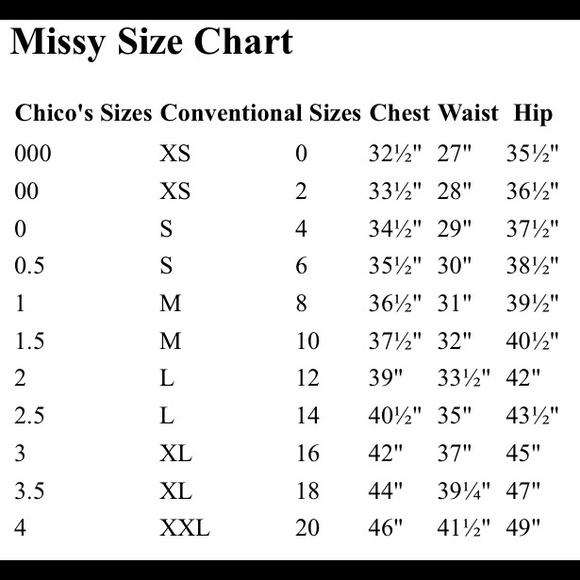 Chico s chico s size chart from necia s closet on poshmark