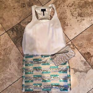 glittering cocktail dress