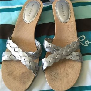 BR Silver/wood Sandals