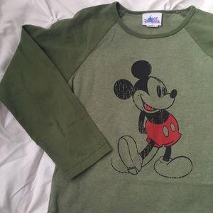 Disneyland Tops - Mickey Disney Green Baseball Tee