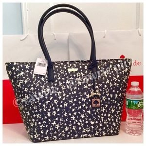 New Kate Spade large navy stars Jules travel tote