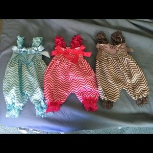Set of 3 baby girl rompers