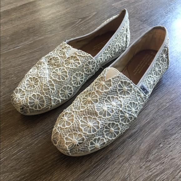 Toms Shoes Silver Glitter Crochet Poshmark