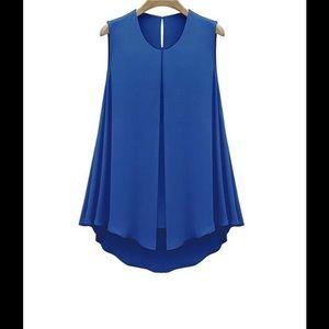 Tops - Sleeveless blue chiffon tunic/blouse.