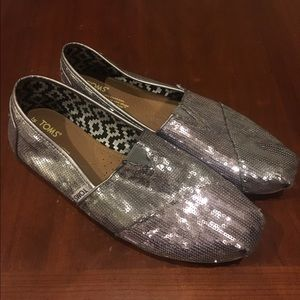 Sparkly Toms slip ons