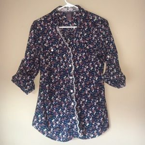 Fire Los Angeles Tops - Blue Floral Button Down Shirt