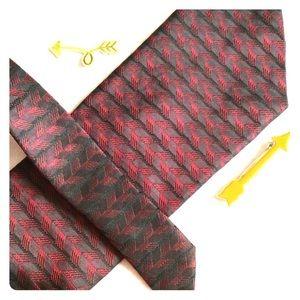 Dkny Accessories - DKNY Red Wine Arrow Print Tie Safe Yet Wild Stripe