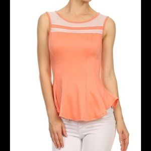 Tops - Lovely peach peplum top with mesh detail on top