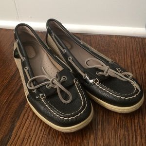 Black and Tan Sperry Topsiders