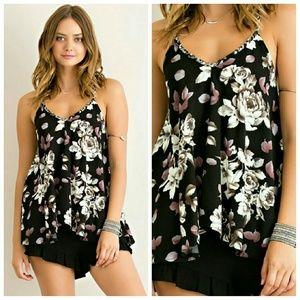 Tops - Floral Printed Top-Black
