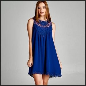 Dresses & Skirts - Royal Blue Swing Dress With Lace