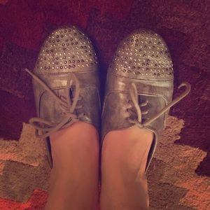 Shoes - Studded grey metallic slip on Oxfords size 6