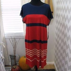 Jason Wu for XL red blue T-shirt dress cover up