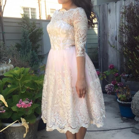ASOS Dresses   Chi Chi London Lace Midi Dress Wbardot Neck   Poshmark 3408316c10