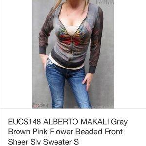 Alberto Makali gray floral sheer slv top