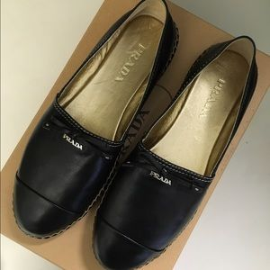 NIB Prada Black Leather Espadrilles 37