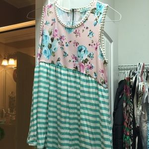 NWOT cute floral and stripes top