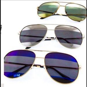 SILVER UV Two Toned Striped Aviator Sunglasses