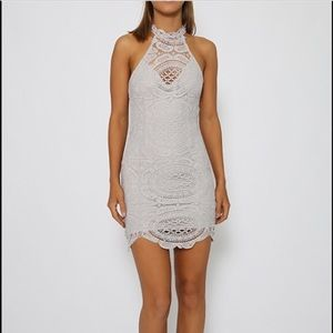 Grey lace dress from Pepper Mayo