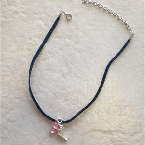 Black Suede Choker/Necklace with pink fairy charm