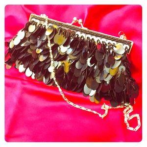 Beaded Vintage 60s Black Evening Bag Purse