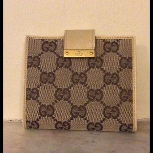 Gucci Handbags - Gucci beige leather & canvas brown GG logo wallet