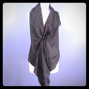 Hache linen stripe vest with leather tie M 8