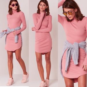 Pink Turtle Neck Long Sleeve Ribbed Mini Dress