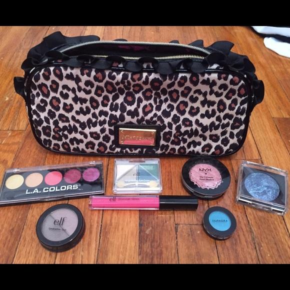 Betsey Johnson Makeup Cheetah Print Bag Bundle Poshmark