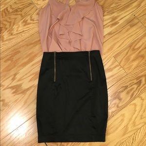 H&M satin pencil skirt