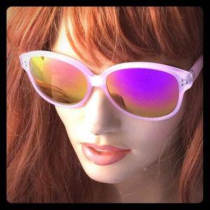 Cat Eye Mirrored Sunglasses Pink w revo lenses