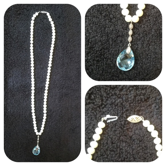 Blue Topaz And Pearl Necklace: Pearl Necklace W/14K Gold, Blue Topaz