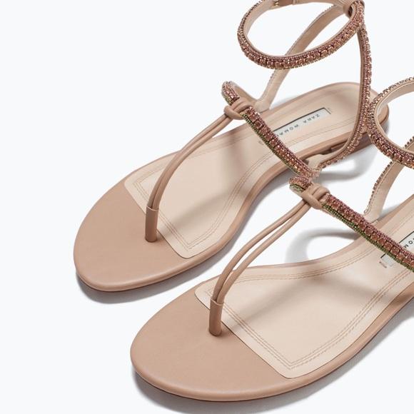 38a7e472af04 Zara Jeweled Sandals