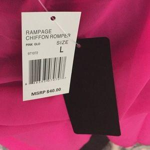 3cd24902d43 Rampage Swim   Hot Pink Sheer Chiffon Romper Cover Up   Poshmark