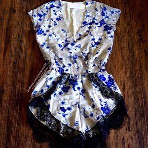 Southern Girl Fashion Pants - FLORAL ROMPER Printed Lace Plunge V Neck Jumpsuit