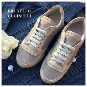 Brunello Cucinelli Shoes - Brunello Cucinelli Cream Stardust Suede Sneakers