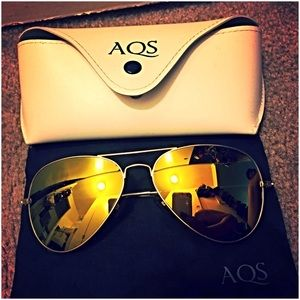 Aqs Accessories - AQS mirror gold aviator sunglasses with case