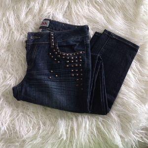 Denim - Studded Skinny Jeans