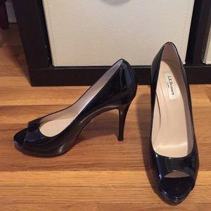 81cca6529431 Nwot peep toe black patent leather pumps ...