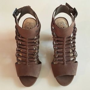 Vince Camuto brown leather cage heels. Never worn.