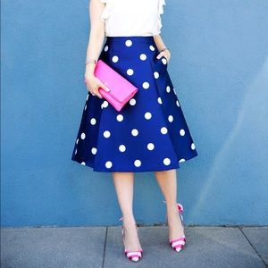 CHICWISH Navy & White Polka Dot Midi Skirt XS