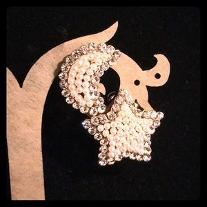 Pearly Moon and Star Earring Studs