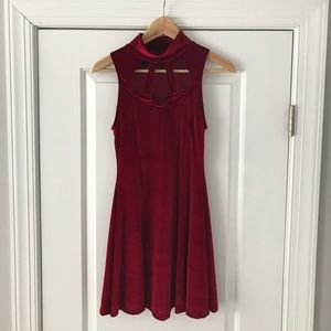 Nasty Gal burgundy velvet René Dress