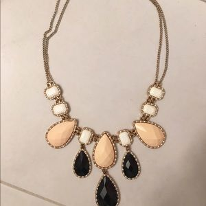 Black pink and white statement gold necklace