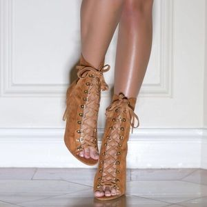 Shoes - Camel Lace Up Booties
