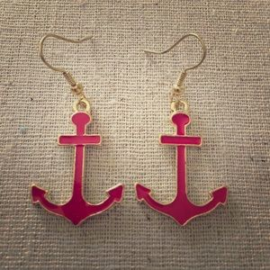 Jewelry - Nautical Red Goldtone Anchor Statement Earrings
