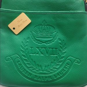 Lauren Ralph Lauren green leather crossbody bag
